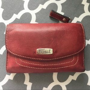 Fossil Genuine Leather Red Foldable Wallet